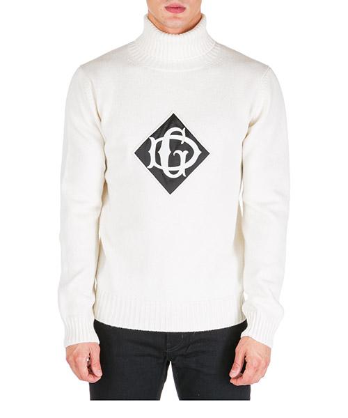 Roll neck jumper Dolce&Gabbana Logo DG GX769ZJAVRIW0001 bianco