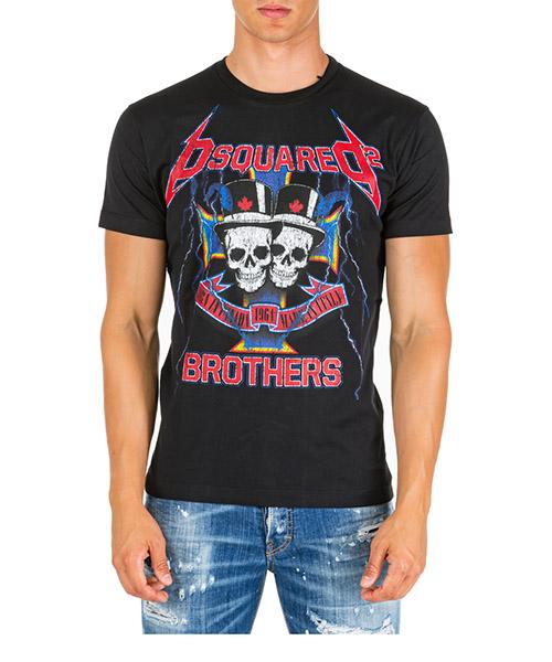 Herren t-shirt kurzarm kurzarmshirt runder kragen skull brothers