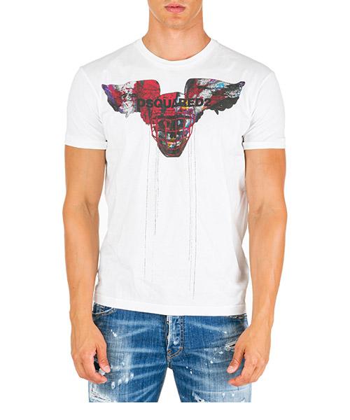 Herren t-shirt kurzarm kurzarmshirt runder kragen winged skull