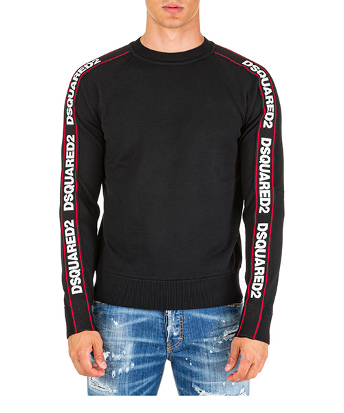 Men's crew neck neckline jumper sweater pullover tape