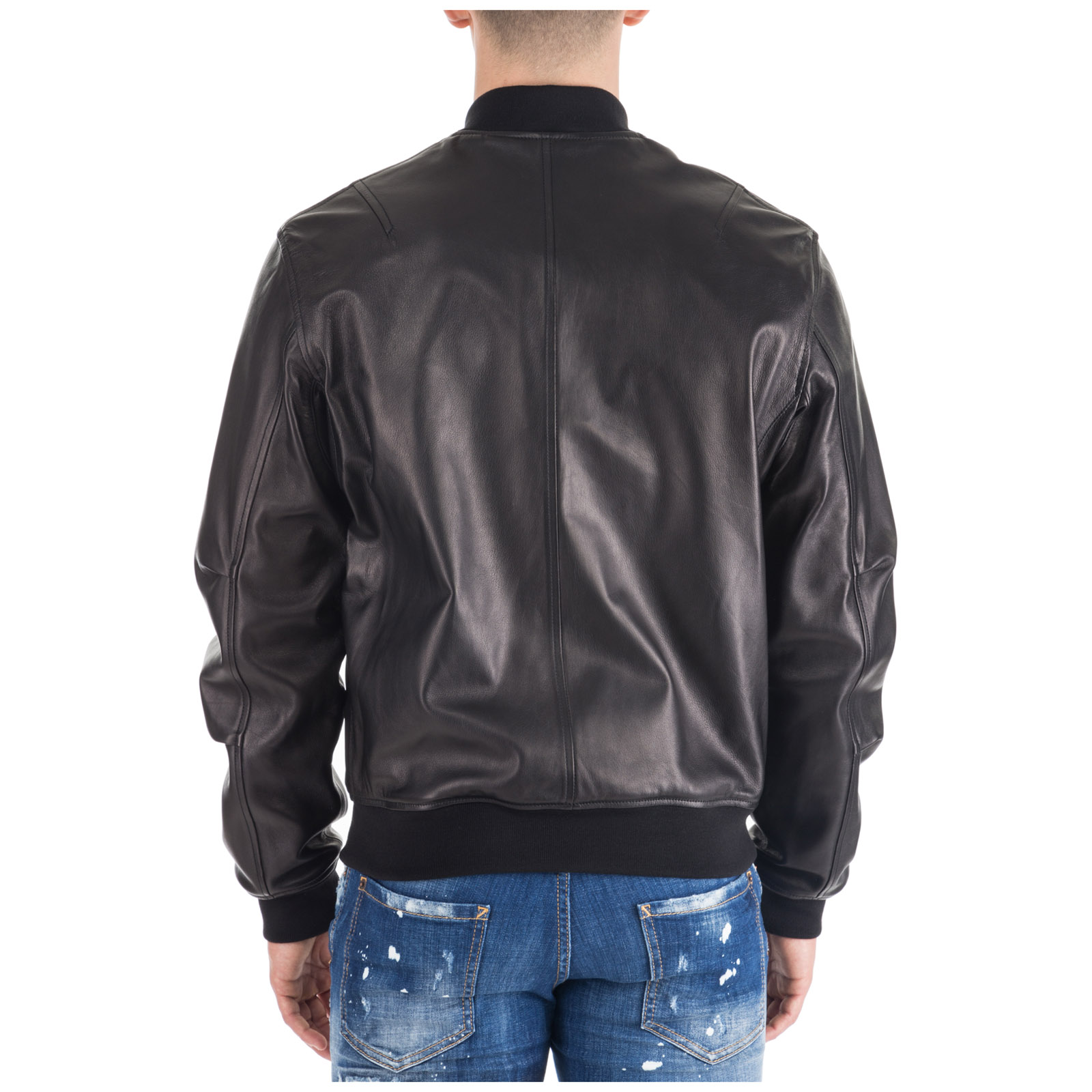 Giubbotto di pelle Dsquared2 Aviator bomber S74AM0891SY1352900 nero ... 99ed5539175