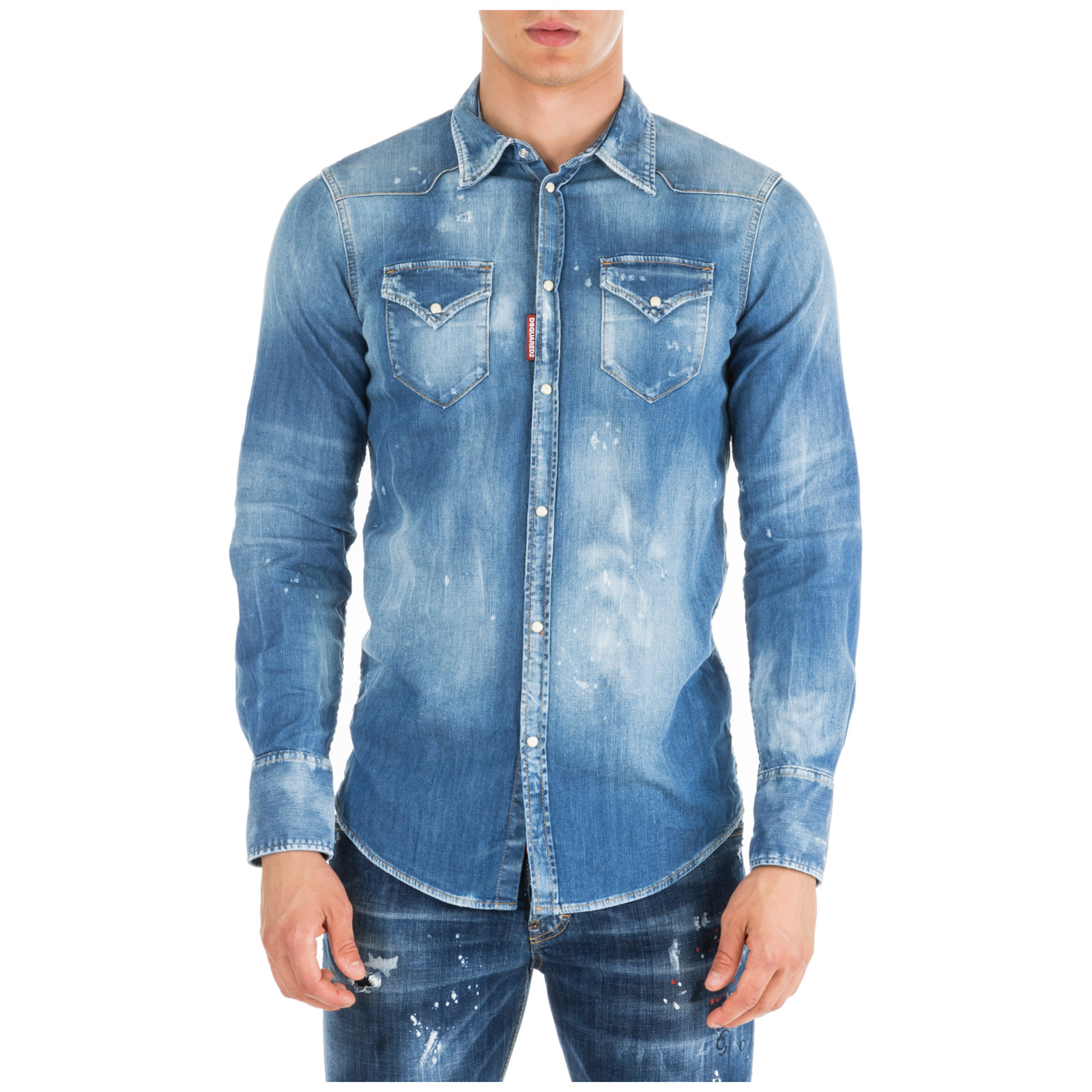 Dsquared2 Men's Long Sleeve Shirt Dress Shirt In Blue