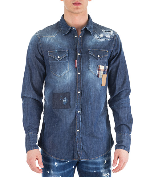 Men's long sleeve shirt dress shirt in denim jeans