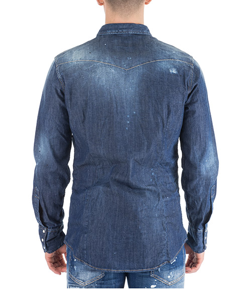 Men's long sleeve shirt dress shirt in denim jeans secondary image