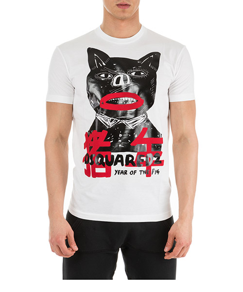 T-shirt Dsquared2 Pig punk S74GD0541S22427100 bianco