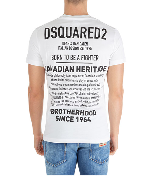 T-shirt Dsquared2 born to be a fighter s74gd0600s22844100 bianco