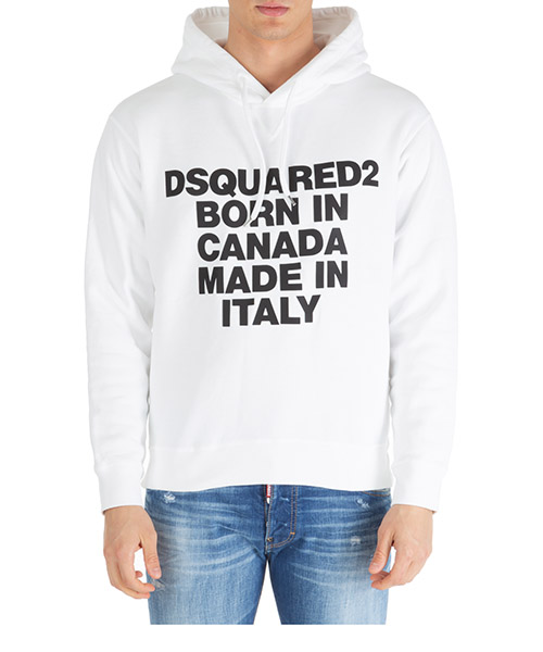 Hoodie Dsquared2 born in canada made in italy s74gu0360s25030100 bianco