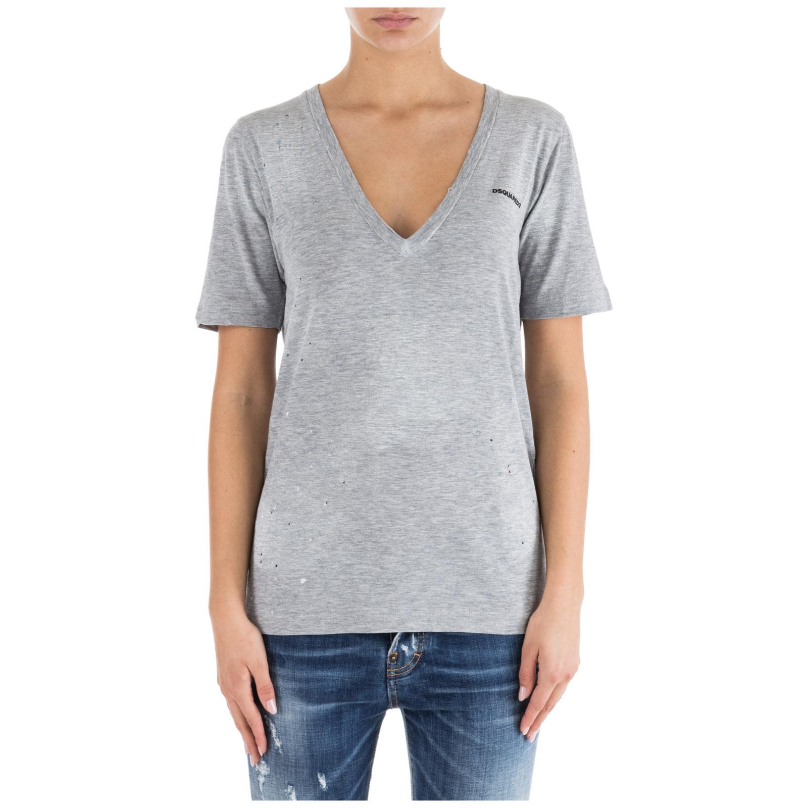 956a987317 T-shirt maglia maniche corte donna scollo a v