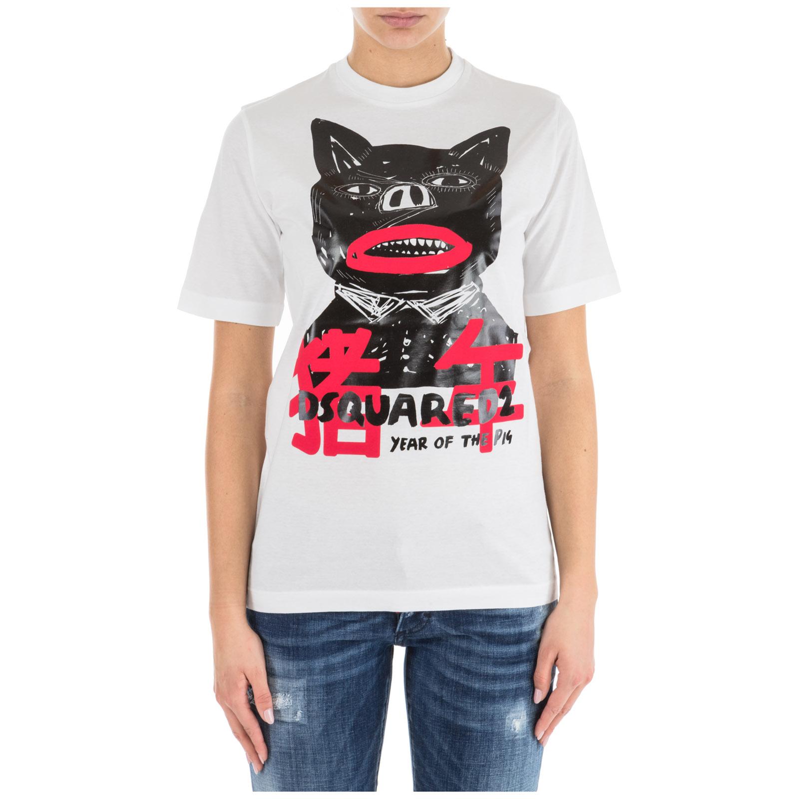 Women's t-shirt short sleeve crew neck round pig punk