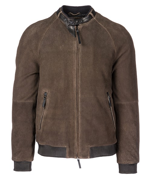 Leather blouson Emporio Armani 11B04P11P04 marrone