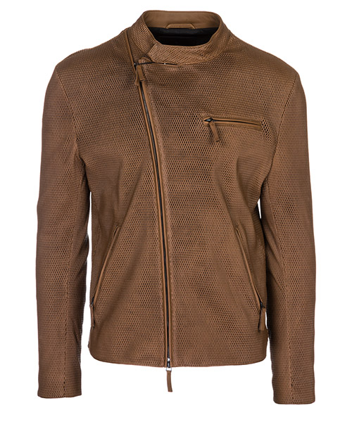 Leather blouson Emporio Armani 21B10P21P10450 marrone