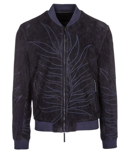 Leather blouson Emporio Armani 21B12P21P12922 blu