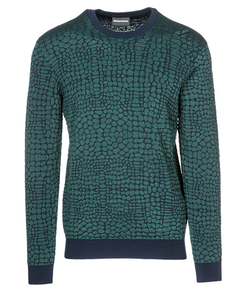 Suéter Emporio Armani 3G1MTR1M6DZF524 fantasia verde - blu