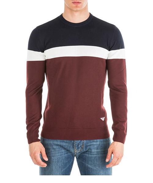 Sweater Emporio Armani 6G1MYA1M8CZF340 bordeaux bianco blu