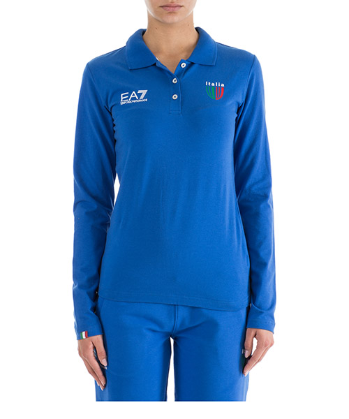 Polo manches longues Emporio Armani EA7 Italia team 283656CC91412633 true blue