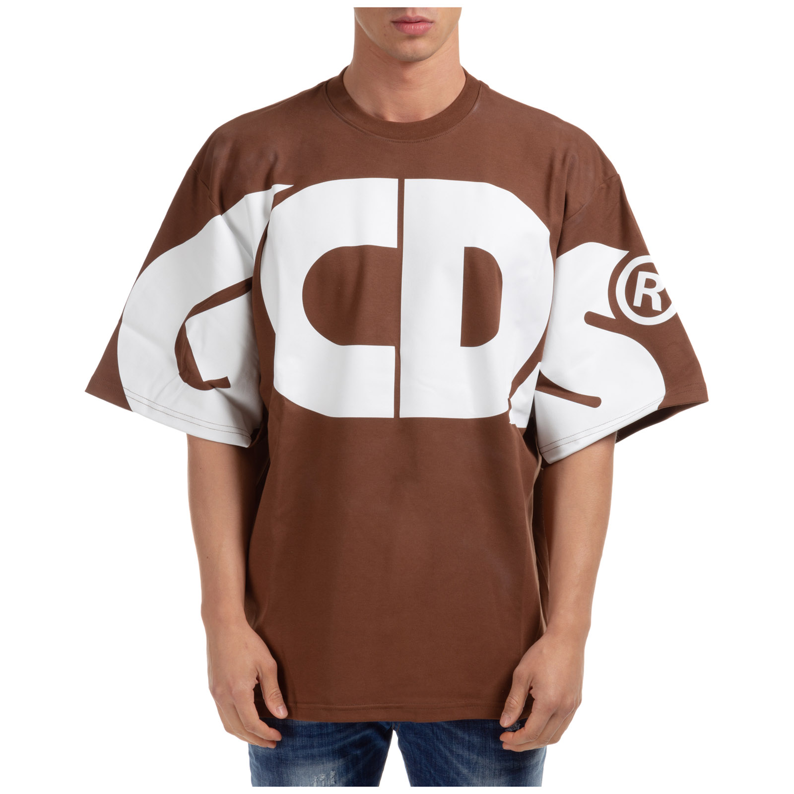 GCDS MEN'S SHORT SLEEVE T-SHIRT CREW NECKLINE JUMPER MACRO LOGO