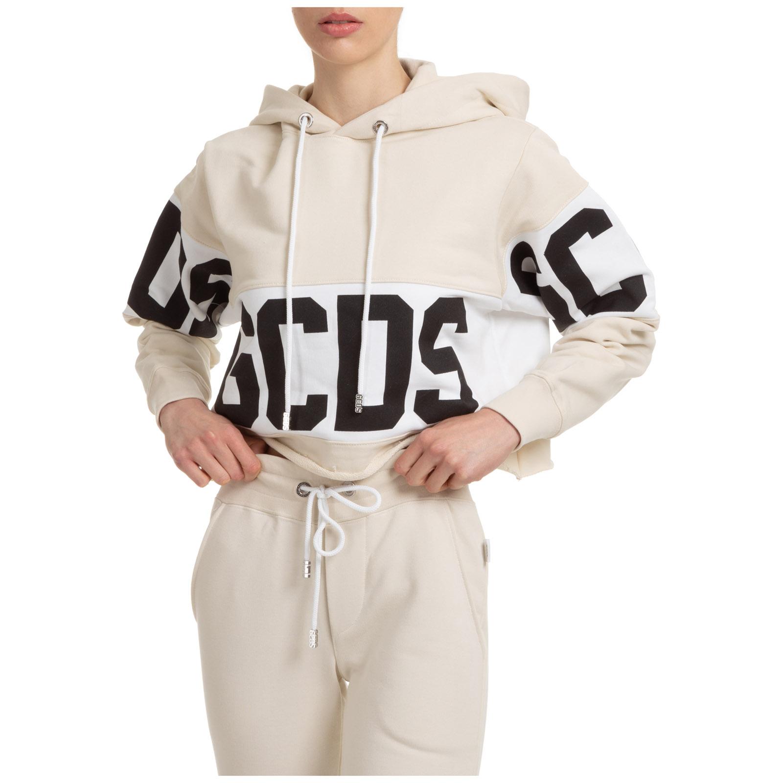 Gcds Women's Sweatshirt Hood Hoodie In Beige