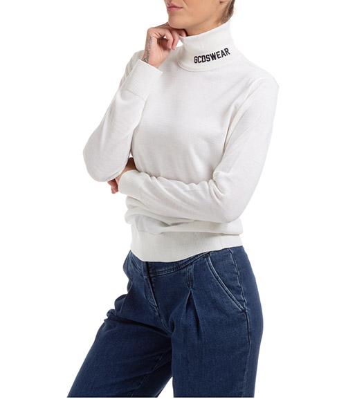 Suéter cuello alto GCDS logo CC94W021115-01 bianco
