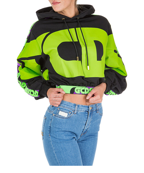 Толстовка с капюшоном GCDS Roundy Logo FW20W020006-02 black