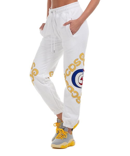 Pantalones deportivos GCDS logo 3d FW21W030100-01 bianco