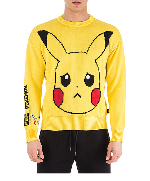 Men's crew neck neckline jumper sweater pullover pikachu