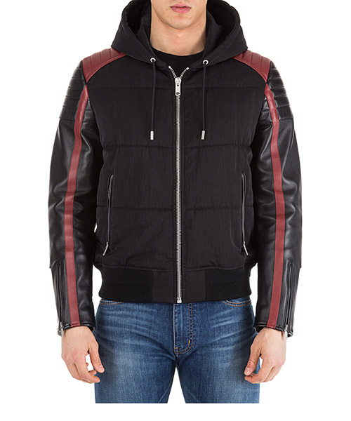 Men's outerwear jacket blouson in pelle cappuccio