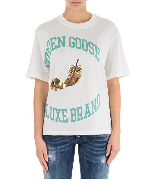 T-shirt Golden Goose Bernina G33WP122.A1 white / gold college