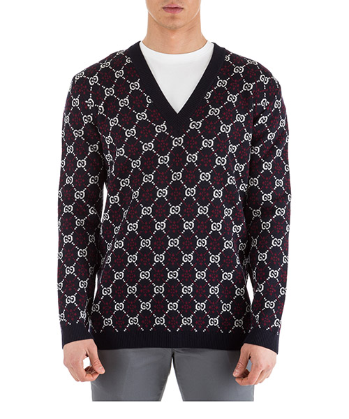 Pullover Gucci GG diamond 553605 XKAHC 4548 blu