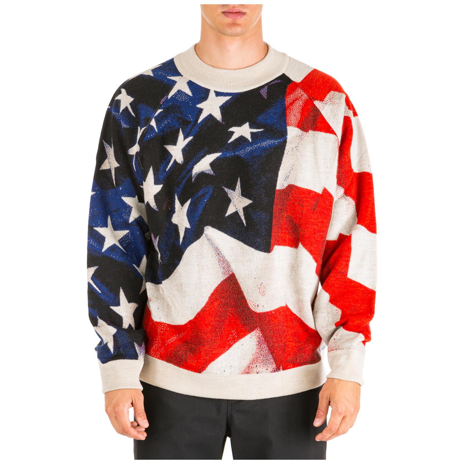 Ih Nom Uh Nit Sweaters MEN'S CREW NECK NECKLINE JUMPER SWEATER PULLOVER AMERICAN FLAG OVERSIZE FIT