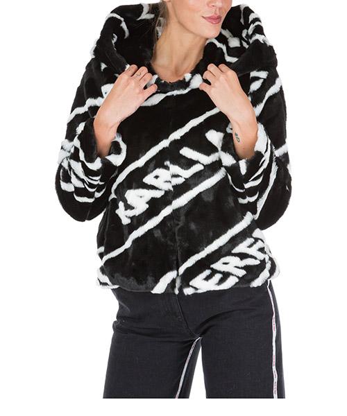 Manteau fourrure Karl Lagerfeld 96kw1509 black / white