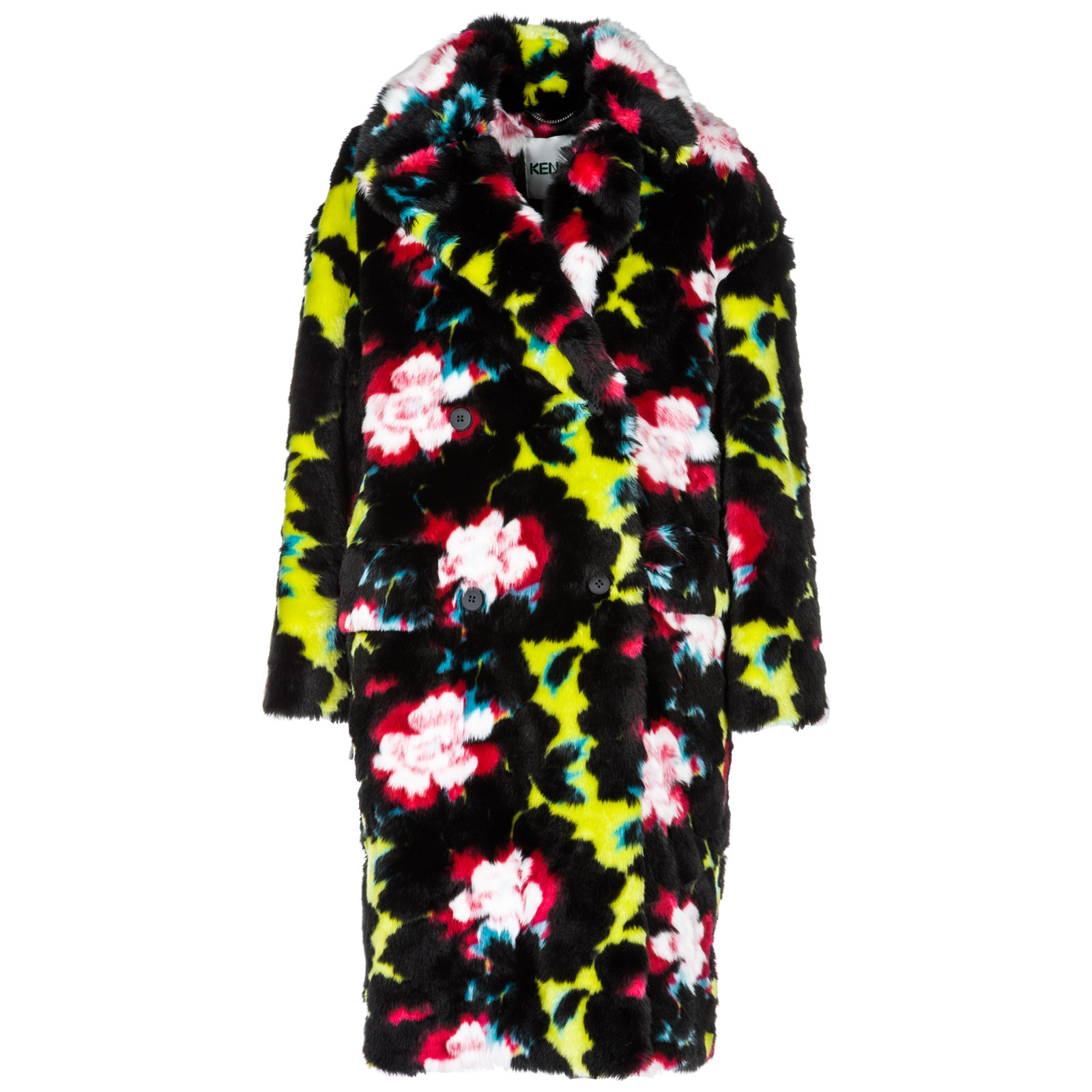 Women's double breasted coat overcoat  indonesian flower