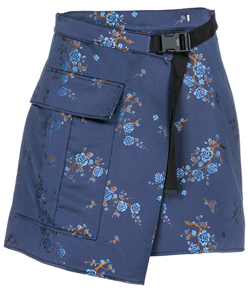 Skirt Kenzo Cheongsam Flower F862JU0815D4.76.38 blu