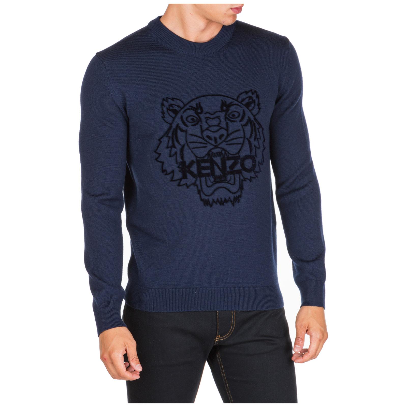 Men's crew neck neckline jumper sweater pullover tiger