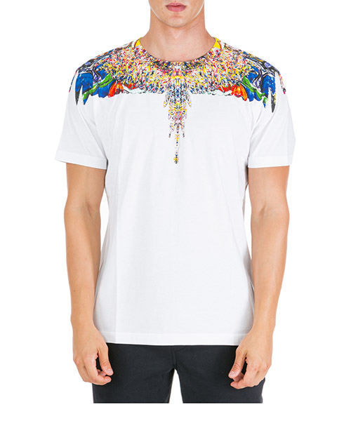 T-shirt Marcelo Burlon multicolor wings cmaa018f190010220188 bianco