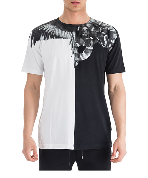 T-shirt Marcelo Burlon Wings - Snakes CMAA018R190010201091 black - white