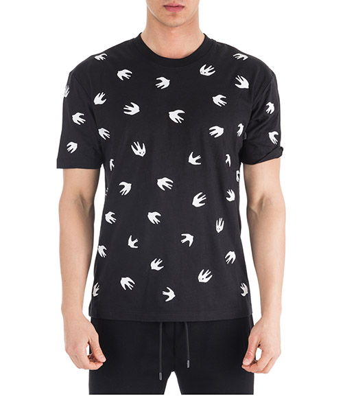 Camiseta MCQ Alexander McQueen Swallow 291571RMT641000 nero