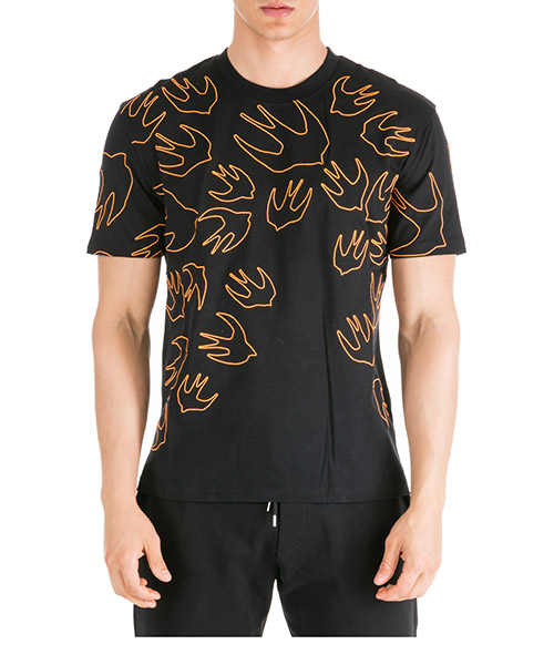 T-shirt MCQ Alexander McQueen Swallow 291571RNR111000 black - orange