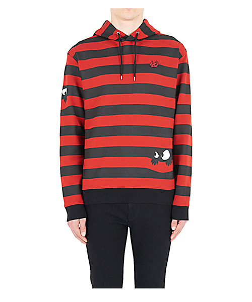 Hoodie MCQ Alexander McQueen Swallow 494034RKT486054 striped black/red