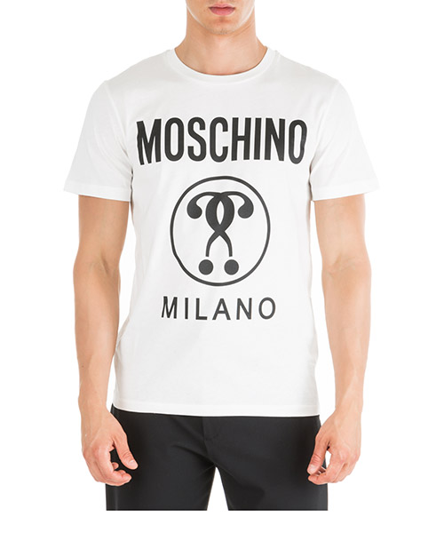T-shirt Moschino Double Question Mark A070652401002 bianco