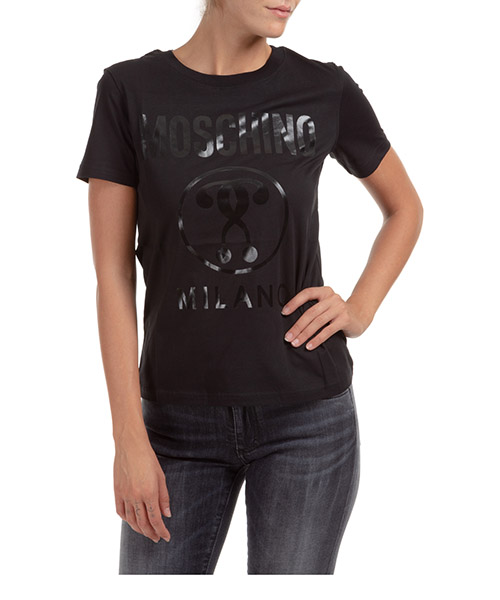 T-shirt Moschino Double Question Mark A071055402555 nero
