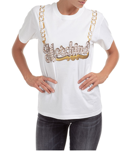 T-shirt Moschino Necklace A071455401001 bianco