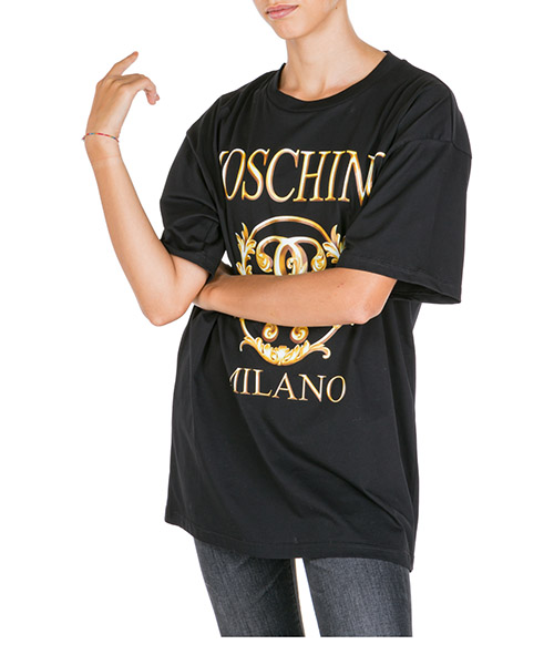 T-shirt Moschino roman double question mark a071855401555 nero