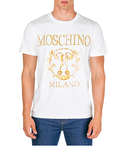 T-shirt Moschino Roman Double Question Mark A072052401002 bianco