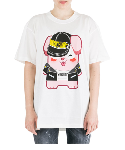 T-shirt Moschino lucky bunny the sims a077391401002 bianco