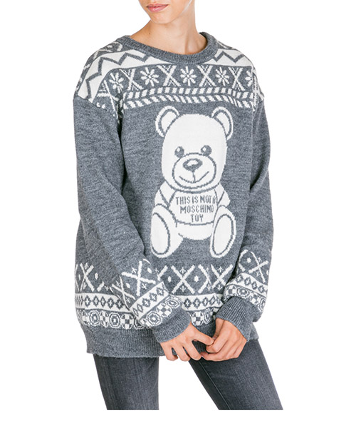 Jumper Moschino fair isle teddy bear a093655041507 grigio