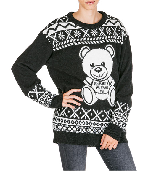 Pullover Moschino Fair Isle Teddy Bear A093655041555 nero