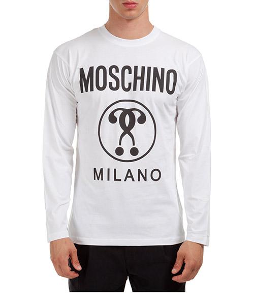 T-shirt manche longue Moschino Double Question Mark A120752402001 bianco