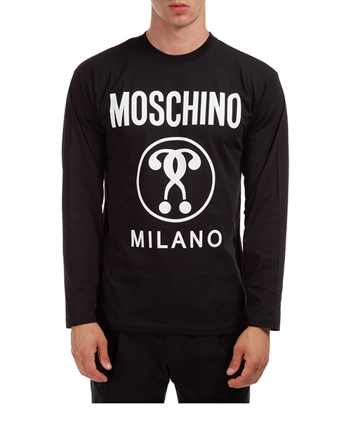Langarmshirt Moschino Double Question Mark A120752402555 nero