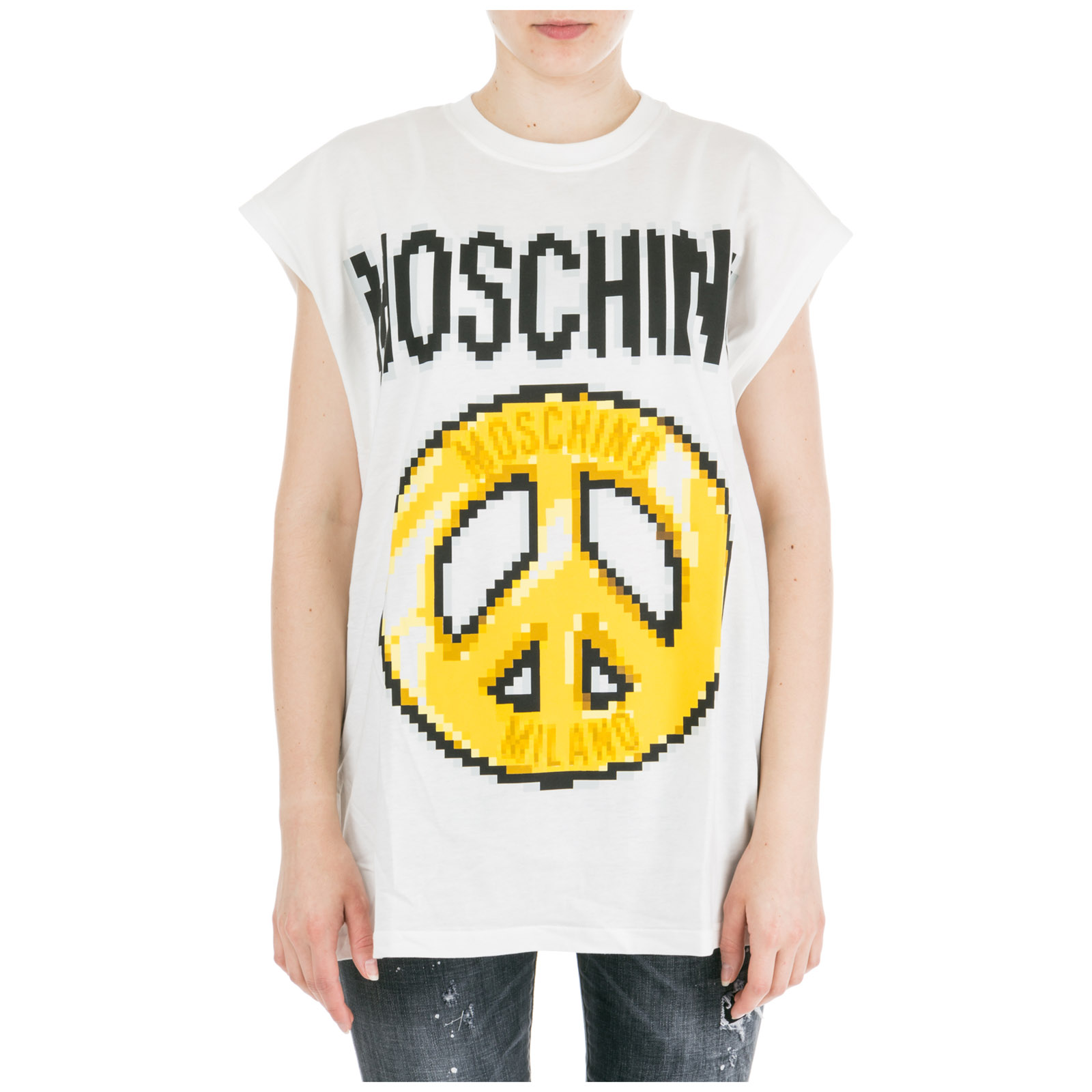 a4605fc63760 Moschino Women's T-Shirt Short Sleeve Crew Neck Round Peace Pixel Capsule In  White