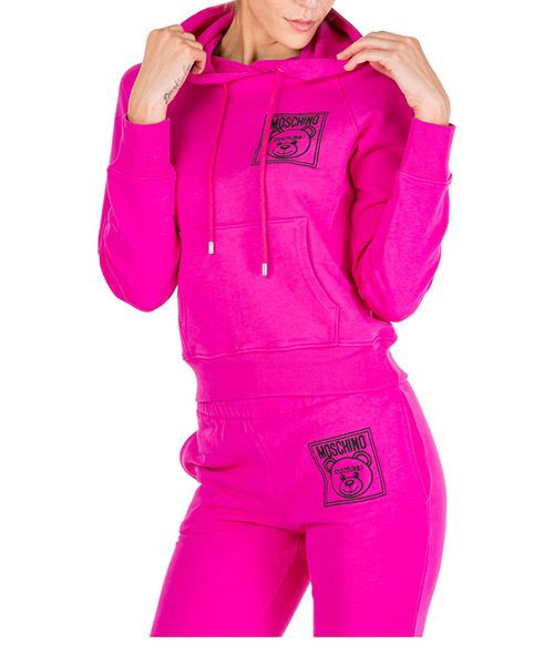 Sweat à capuche Moschino Teddy Bear Label A170955274219 fucsia